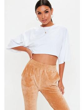White Oversized Cropped T Shirt by Missguided