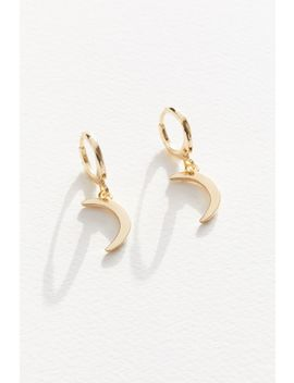 Crescent Moon Charm Hoop Earring by Urban Outfitters