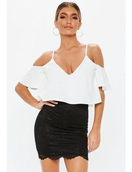 White Cold Shoulder Double Layer Bodysuit by Missguided