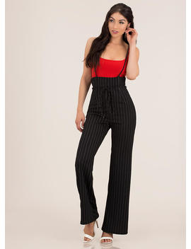 Dotted Line Suspendered Pinstriped Pants by Go Jane
