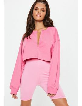 Sweat Court Rose Détail Zip Caché by Missguided