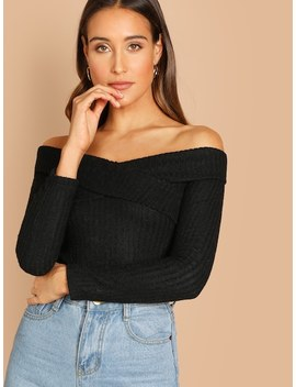 Crisscross Ribbed Bardot Top by Shein