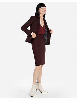 Burgundy Clean Pencil Skirt Suit by Express