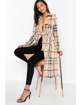 Check Suedette Trench Coat by Boohoo