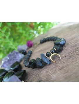 "Black Stone Bracelet   Tourmaline, Lava & Obsidian   Gold Moon   Beaded Dangle Funky Witchy Jewelry   Crystal Gemstone   Large 7"" by Etsy"