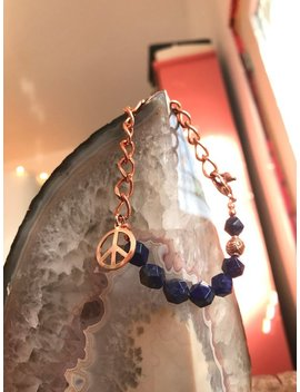 Lapis Lazuli And Copper Bracelet   Peace Sign And Chunky Chain   Fauceted Geometric   Midnight Blue Gemstone   Funky Bohemian Jewelry by Etsy