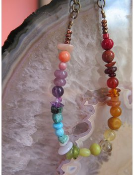 Funky Rainbow Necklace   Shorter Style   Brass Chain   Crystals   Gemstone Jewelry   Bohemian Vibe   Gypsy Jewelry   Chakra   Gift For Her by Etsy