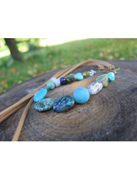 Long Blue And Green Stone Necklace   Crystal + Tan Faux Vegan Suede   Tribal Flair   Turquoise Bohemian Gypsy Jewelry by Etsy