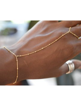 Gold Hand Chain, Beaded Hand Bracelet by Etsy