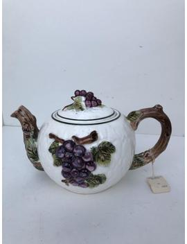 Vintage Tea Pot, White Ironstone, Classic Tea Pot, White With Grape And Vine Design, China Tea Pot, Afternoon Tea, Classic 5 Cup Tea Pot by Etsy