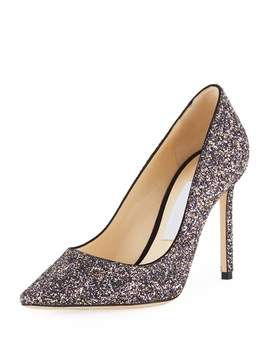 Romy 100mm Coarse Glitter Fabric Pumps by Neiman Marcus