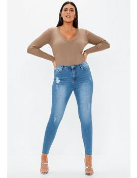 Plus Size Blue Sinner Distressed Skinny Jeans by Missguided