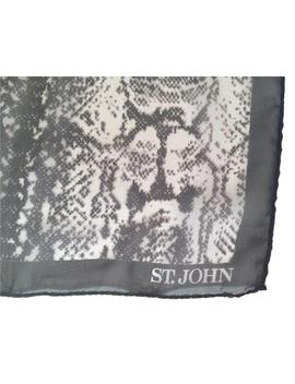 Black / White /Gray Snakeskin Patterned Silk Scarf/Wrap by St. John