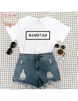 Bts Bangtan Boy T Shirt Cool Fashion Streetwear Graphic Tumblr Aesthetic Crewneck Letter Print Clothes Tee Shirt Femme Korean by Okoufen