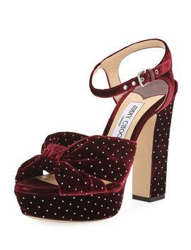 Heloise Glitter Spotted Velvet Platform Sandals by Jimmy Choo