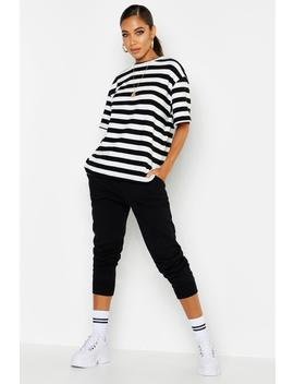 Brushed Stripe Oversized T Shirt by Boohoo