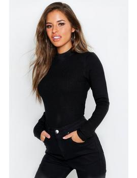 Petite Ribbed Knitted High Neck Jumper by Boohoo
