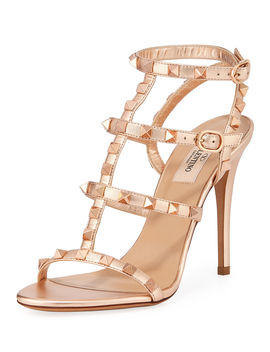 Rockstud Caged Metallic Sandals by Neiman Marcus