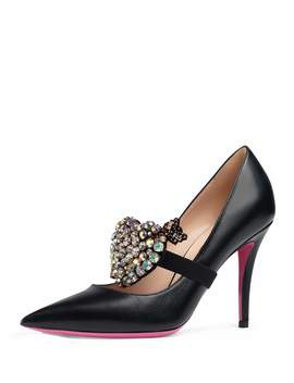 95mm Virginia Leather Pump With Crystal Heart by Neiman Marcus