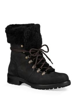 Fraser Shearling And Suede Combat Booties by Ugg Australia
