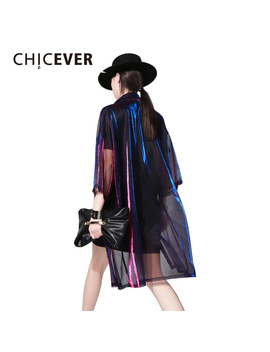 Chicever 2018 Summer Female T Shirt For Women Top Half Sleeve Colorful Transparent Long Big Sizes Cardigan Tops Clothes Korean  by Chicever