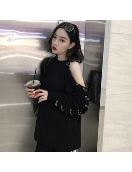 Women's Clothing Full Korean Version Chic Punk Style O Neck Tops Tees Holes Ring Strapless Hollow Full Loose Cool Solid T Shirts by Idone It