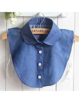 Ropalia Blue False Collar For Women Jeans Detachable Shirt Collars Accessories Fake Denim Collar by Ropalia