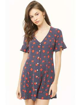 Floral Dotted Fit & Flare Dress by Forever 21