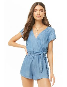 Chambray Surplice Self Tie Romper by Forever 21
