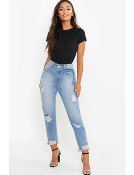 Petite Distressed Hem Straight Leg Jean by Boohoo