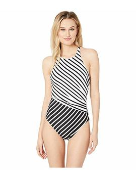 Stripe Mix High Neck One Piece by Lauren Ralph Lauren
