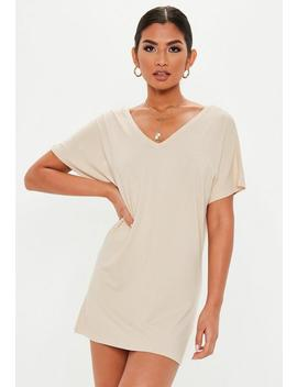 Petite Sand Wide V Neck T Shirt Dress by Missguided