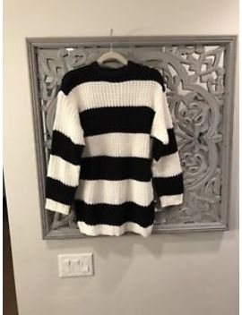 Bershka Womans Long Sleeve Black White Striped Oversized Knit Sweater Xs/S Nwt by Bershka