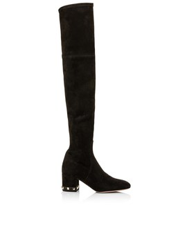 Rockstud Over The Knee Suede Stretch 60 Mm Heel Studs On Heel by Valentino