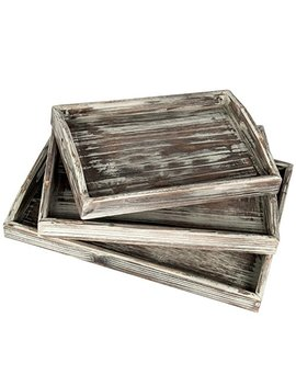 My Gift Country Rustic Torched Wood Nesting Breakfast Serving Trays With Handles, Set Of 3 by My Gift