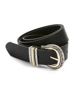 Denim Leather Look Belt by Topshop