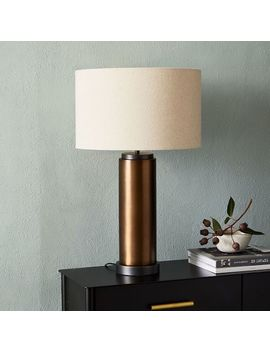 Pillar Table Lamp + Usb   Burnished Brass by West Elm