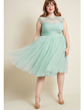 Emphasis On Opulence Fit And Flare Dress In Mint by Modcloth