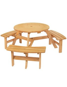 Best Choice Products 6 Person Outdoor Wood Picnic Table W/ Natural Finish   Brown by Best Choice Products