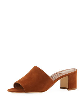 Rapallato Suede Slide Sandals by Manolo Blahnik