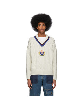 White Bedworth V Neck Sweater by Burberry