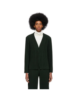 Green Pleated Cardigan by Homme PlissÉ Issey Miyake