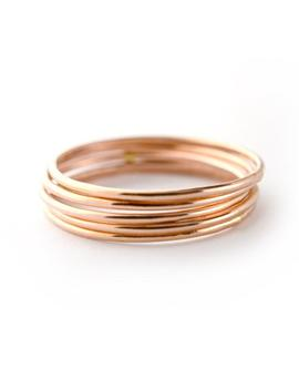 Rose Gold Skinny Ring Set Of 5, Ring Threads, Stackable Midi Ring Str20 R5 by Etsy