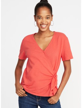 Textured Wrap Front Side Tie Top For Women by Old Navy