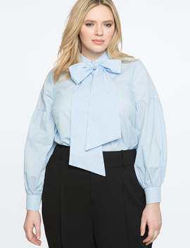 Long Sleeve Bow Blouse by Eloquii