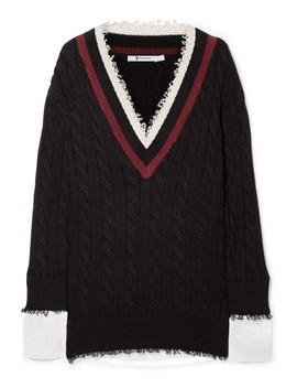 Frayed Cotton Blend And Poplin Sweater by T By Alexander Wang
