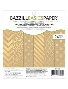 Bazzill Basics Cardstock Kraft Pad (24 Pack), 6x6 Inch, Gold by Amazon