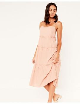 Linen Blend Tiered Dress by Glassons
