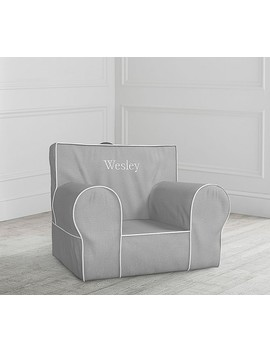 Gray With White Piping Anywhere Chair® by Pottery Barn Kids