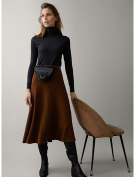 Ribbed Skirt With Belt Detail by Massimo Dutti